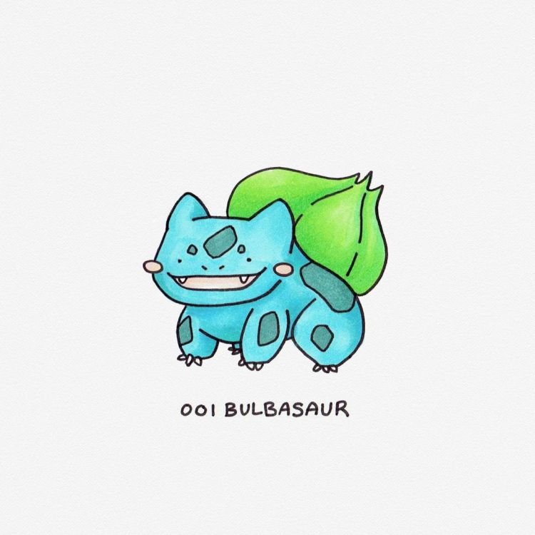 Bulbasaur, copic marker illustration