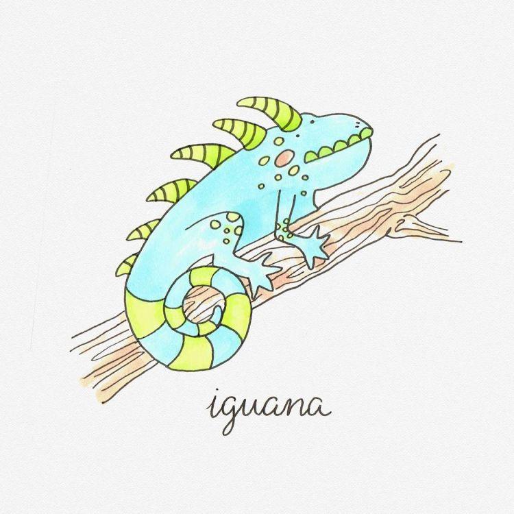 Iguana, copic marker illustration