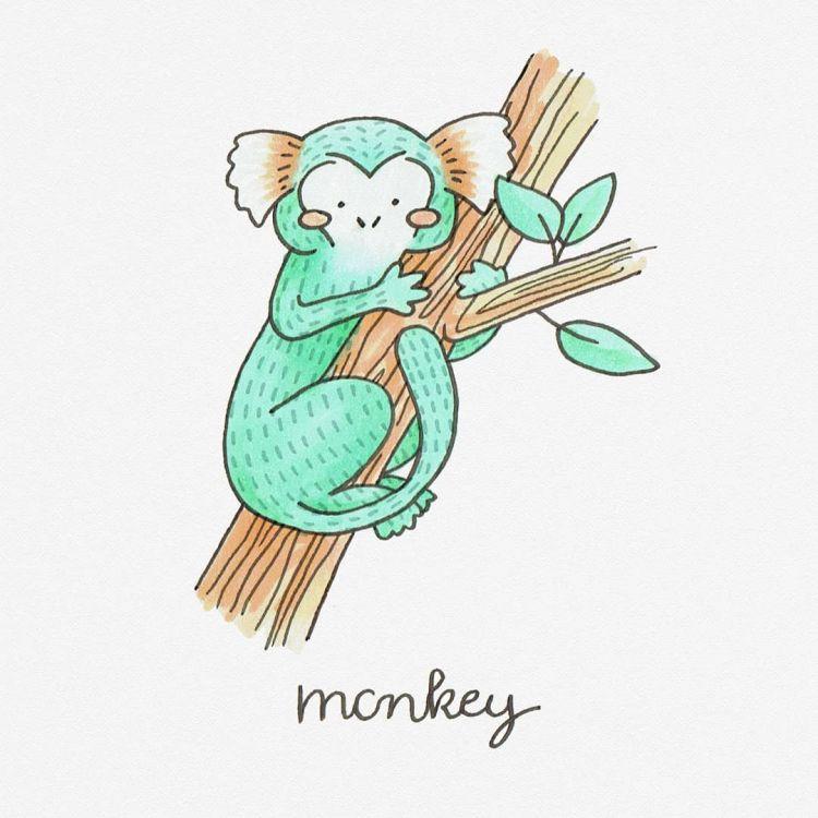 Monkey, copic marker illustration