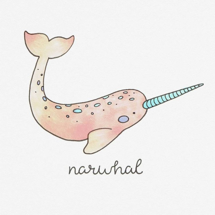 Narwhal, copic marker illustration