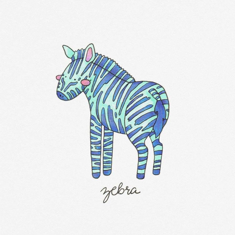 Zebra, copic marker illustration